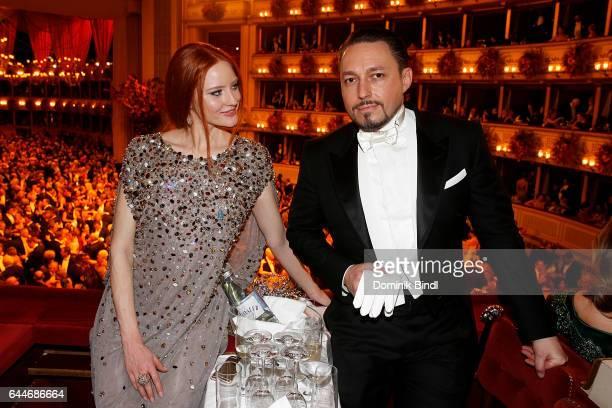 Barbara Meier and Klemens Hallmann during the Opera Ball Vienna at Vienna State Opera on February 23 2017 in Vienna Austria