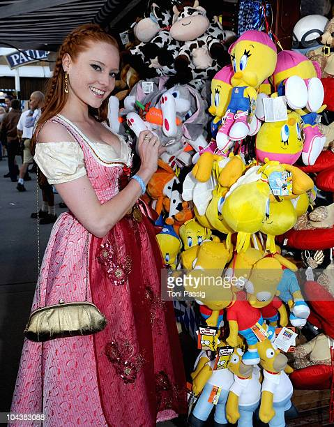 Barbara Meier arrives for the second evening at the Kaefer during Oktoberfest 2010 at Theresienwiese on September 19 2010 in Munich Germany