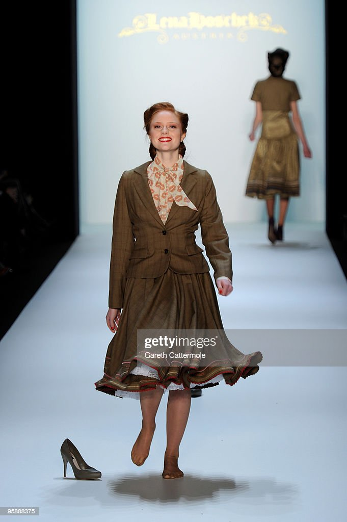 Barbara Meier looses her shoes on the runway at the Lena Hoschek Fashion Show during the Mercedes-Benz Fashion Week Berlin Autumn/Winter 2010 at the Bebelplatz on January 20, 2010 in Berlin, Germany.