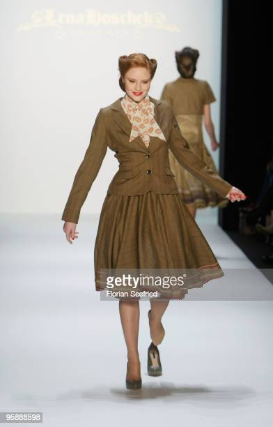 Barbara Meier looses her shoes on the runway at the Lena Hoschek Fashion Show during the MercedesBenz Fashion Week Berlin Autumn/Winter 2010 at the...