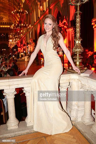 Barbara Meier wearing a dress by Stephan Pelger during the Filmball Vienna 2015 on March 14 2015 in Vienna Austria