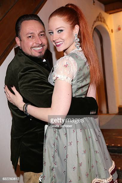 Barbara Meier wearing jewelry by Thomas Jirgens Juwelenschmiede and her boyfriend Klemens Hallmann during the Weisswurstparty at Hotel Stanglwirt on...