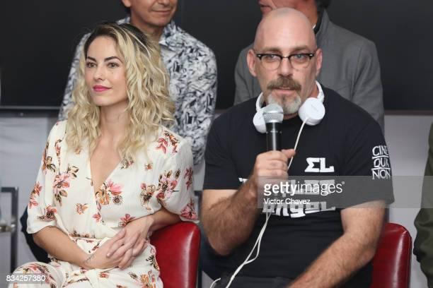 Barbara Mori and film director Sebastian del Amo attend a press conference and photocall to promote the film 'El Complot Mongol' at Club de...