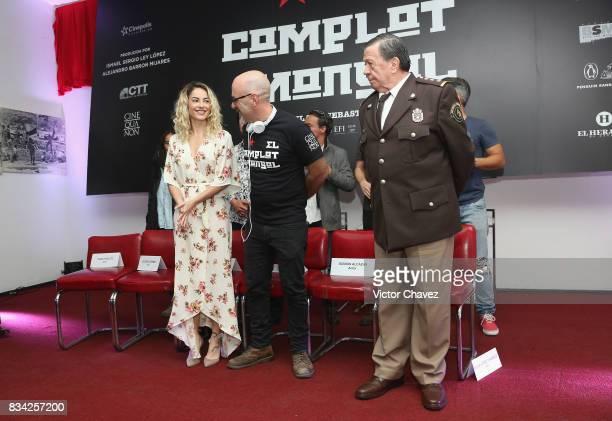 Barbara Mori film director Sebastian del Amo and Xavier Lopez 'Chabelo' attend a press conference and photocall to promote the film 'El Complot...