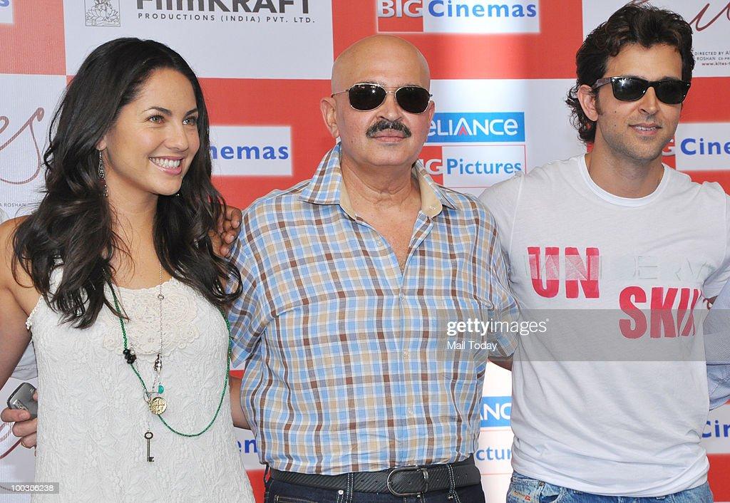 Barbara Mori, Rakesh Roshan and Hrithik Roshan at a promotional event for the film Kites in Mumbai on May 22, 2010.