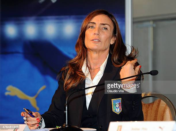 Barbara Moschini attends an unveiling of the new Italy team kit at Malpensa Airport on March 3 2014 in Milan Italy