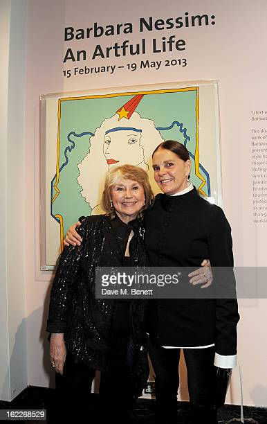 Barbara Nessim and Ali MacGraw attend a private view of American artist and designer Barbara Nessim's exhibition 'An Artful Life' at The VA on...