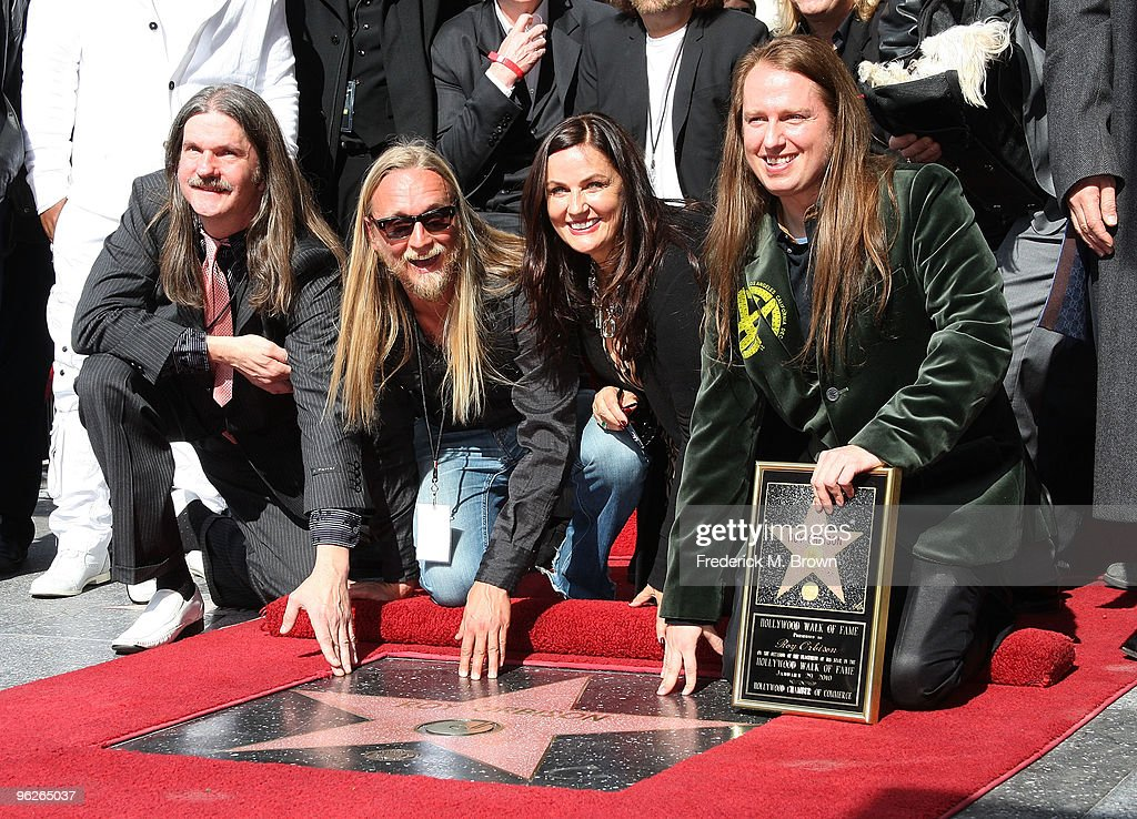 Barbara Orbison (C) and her family speak during the installation ceremonies for recording artist Roy Orbison at the Hollywood Walk of Fame on January 29, 2010 in Hollywood, California.