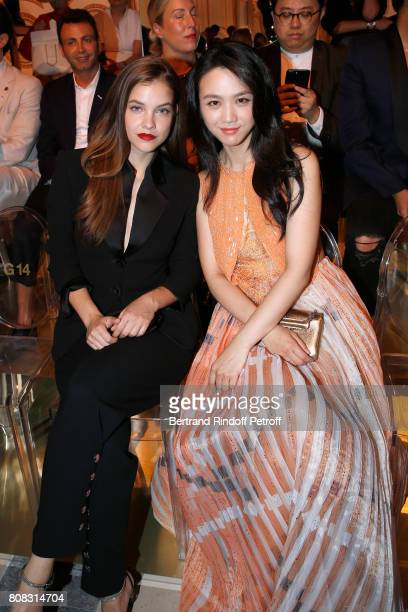 Barbara Palvin and Nanao Arai attend the Giorgio Armani Prive Haute Couture Fall/Winter 20172018 show as part of Haute Couture Paris Fashion Week on...