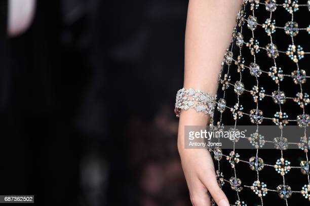 Barbara Palvin bracelet detail attends the 70th Anniversary of the 70th annual Cannes Film Festival at Palais des Festivals on May 23 2017 in Cannes...