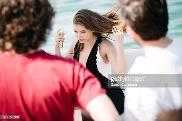 Barbara Palvin is photographed at the L'Oreal Paris Beach during the 70th annual Cannes Film Festival on May 24 2017 in Cannes France