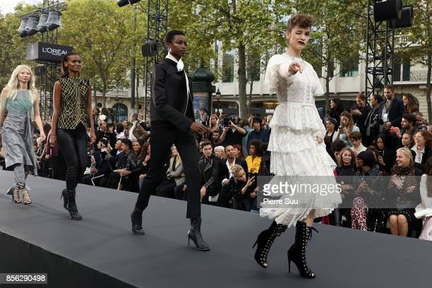Barbara Palvin is seen during the finale of the Le Defile L'Oreal Paris show as part of the Paris Fashion Week Womenswear Spring/Summer 2018 on...