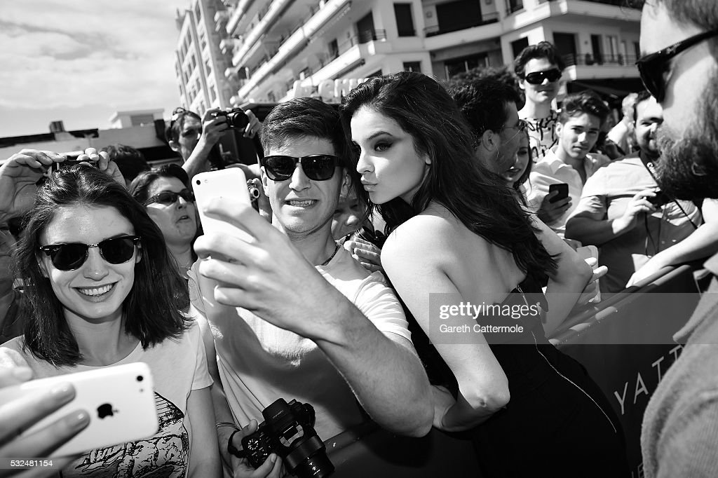 Barbara Palvin meets with fans outside the Martinez Hotel during the 69th annual Cannes Film Festival on May 16 2016 in Cannes France