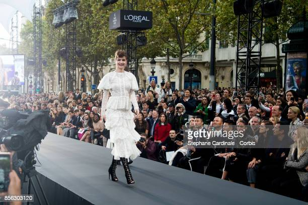 Barbara Palvin walks the runway during the Le Defile L'Oreal Paris Spring Summer 2018 show as part of Paris Fashion Week at Avenue des ChampsElysees...