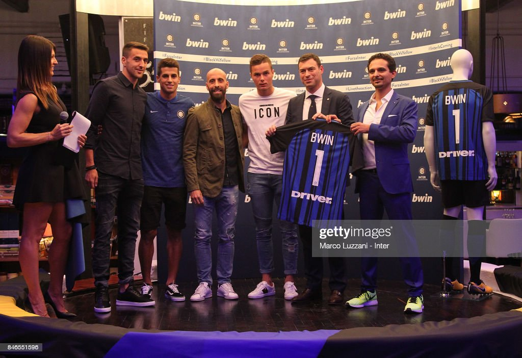 Barbara Pedrotti, Matias Vecino, Joao Cancelo, Borja Valero, Zinho Vanheusden, FC Internazionale Milano Chief Revenue Officer Michael Gandler and bwin Country Lead Moreno Marasco attend BWin event on September 13, 2017 in Milan, Italy.