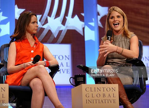 Barbara Pierce Bush and Jenna Bushdaughters of former president George W Bush during the annual Clinton Global Initiative September 22 2010 in New...