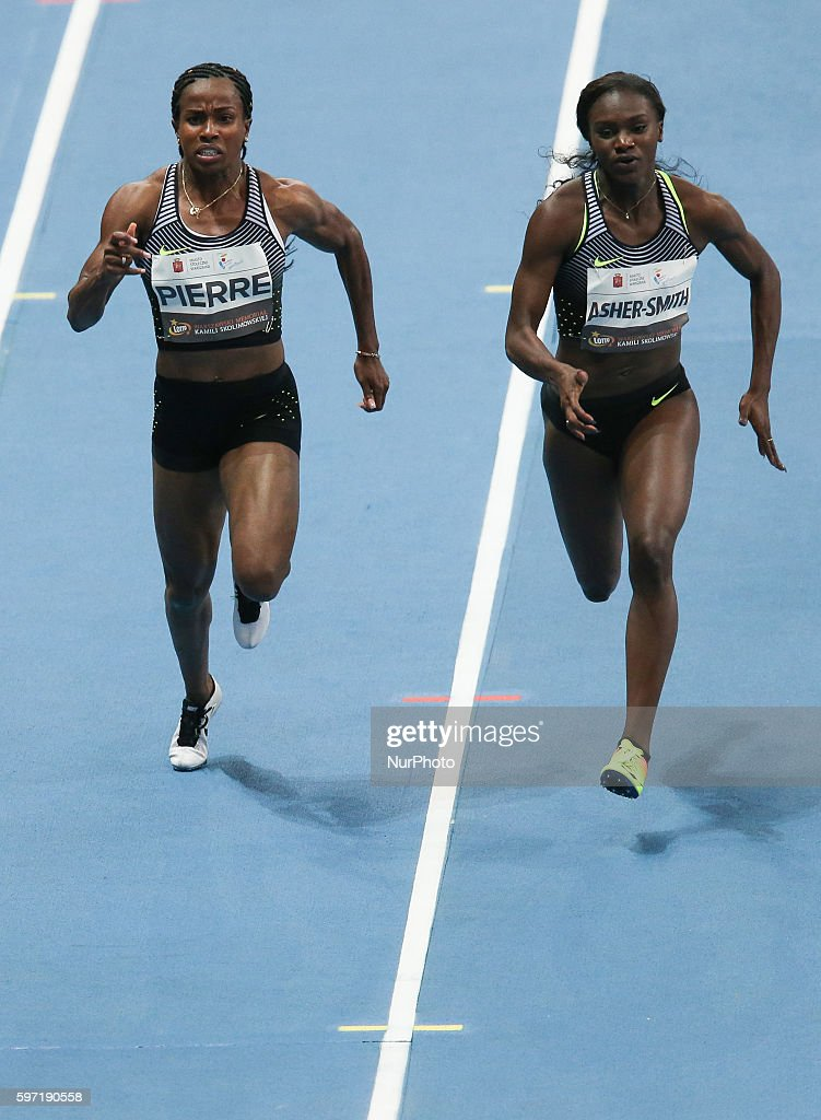 Barbara Pierre and Dina AsherSmith compete during the athletics meeting of Kamila Skolimowska at the National Stadium in Warsaw Poland on August 28...