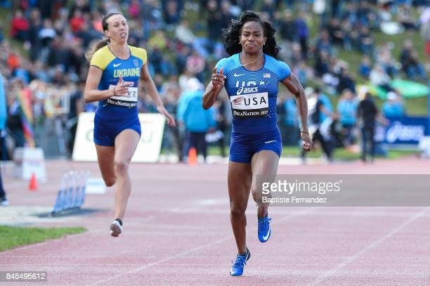 Barbara Pierre of USA competes in 100m during the DecaNation 2017 on September 9 2017 in Angers France