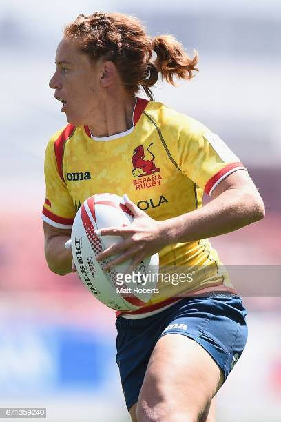 Barbara Pla of Spain looks to pass the ball during the HSBC World Rugby Women's Sevens Series 2016/17 Kitakyushu pool match between Canada and Spain...