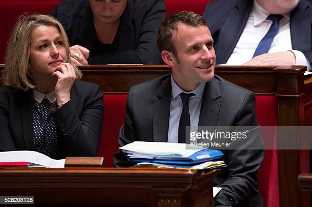 Barbara Pompili Secretary of State in charge of Biodiversity and French Minister of Economy Emmanuel Macron react during the weekly questions to the...