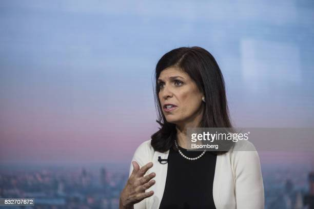 Barbara Reinhard head of asset allocation for Voya Investment Management LLC speaks during a Bloomberg Television interview in New York US on...
