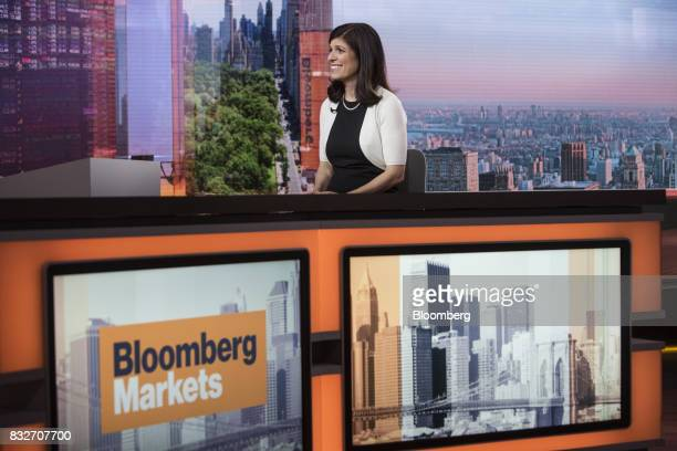 Barbara Reinhard head of asset allocation for Voya Investment Management LLC smiles during a Bloomberg Television interview in New York US on...