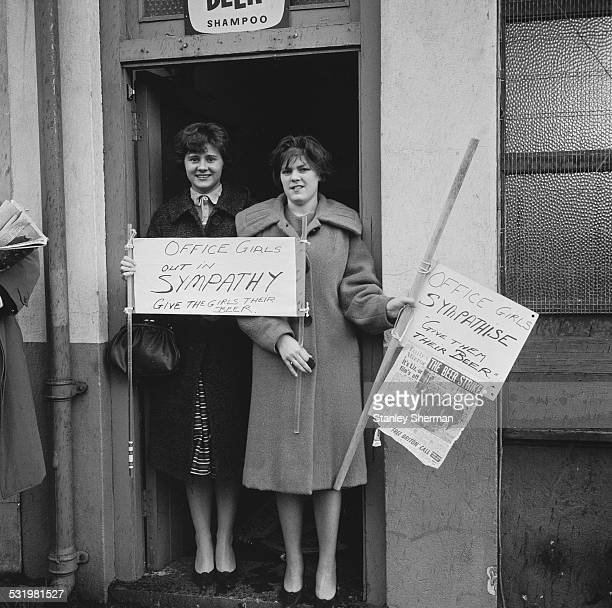 Barbara Ribben and Margaret Hugh show their support at the beer strike 2nd November 1960