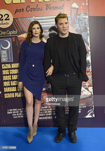 Barbara Santa Cruz and Sergio Peris Mencheta attend the 'One Night Only Pulp Fiction ' Madrid Premiere at the Capitol Cinema on June 22 2015 in...