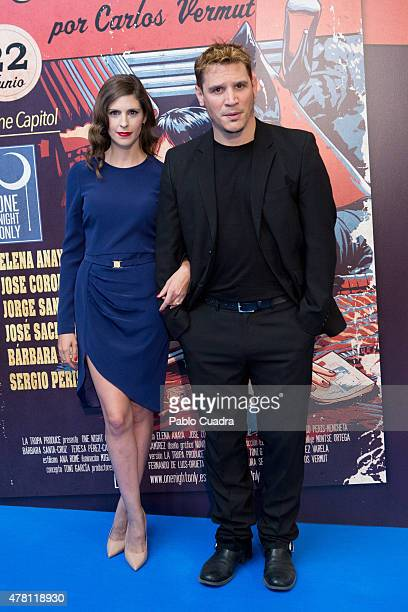 Barbara SantaCruz and Sergio PerisMencheta attend the 'One Night Only Pulp Fiction' premiere at Capitol Cinema on June 22 2015 in Madrid Spain