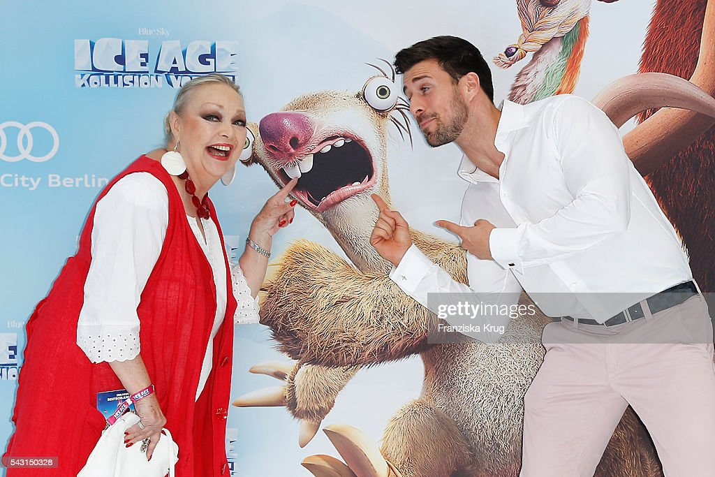 Barbara Schoene and 'Bachelor' participants Leonard Freier attend the 'Ice Age - Kollision Voraus' German Premiere at CineStar on June 26, 2016 in Berlin, Germany.