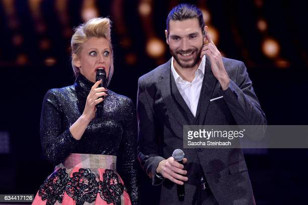 Barbara Schoeneberger and Axel Maximilian Feige attend the 'Eurovision Song Contest 2017 Unser Song' show on February 9 2017 in Cologne Germany