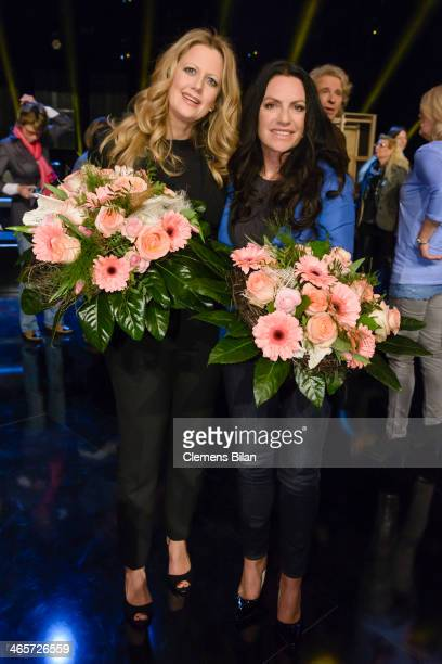 Barbara Schoeneberger and Christine Neubauer pose after the taping of 'Back To School Gottschalks grosses Klassentreffen' Show on January 28 2014 in...