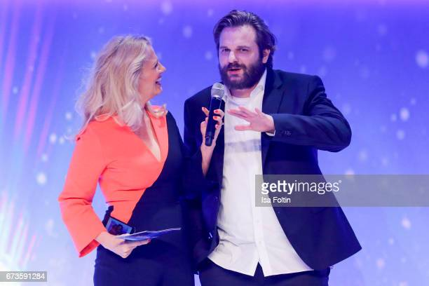 Barbara Schoeneberger and Erik Range alias Gronkh during the German Computer Games Award 2017 at WECC on April 26 2017 in Berlin Germany