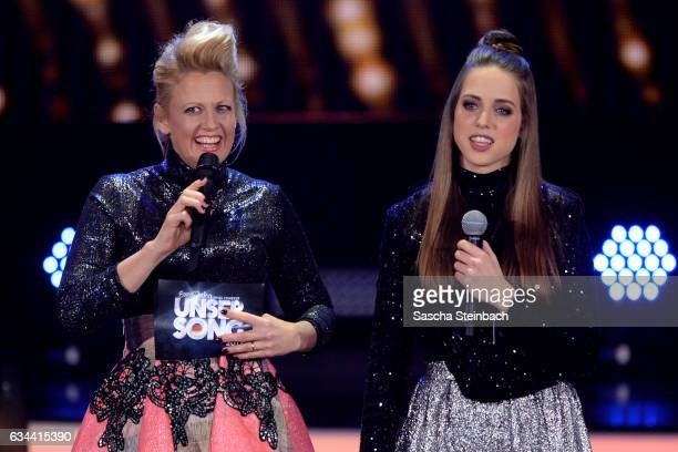 Barbara Schoeneberger and Felicia Lu Kuerbiss attend the 'Eurovision Song Contest 2017 Unser Song' show on February 9 2017 in Cologne Germany
