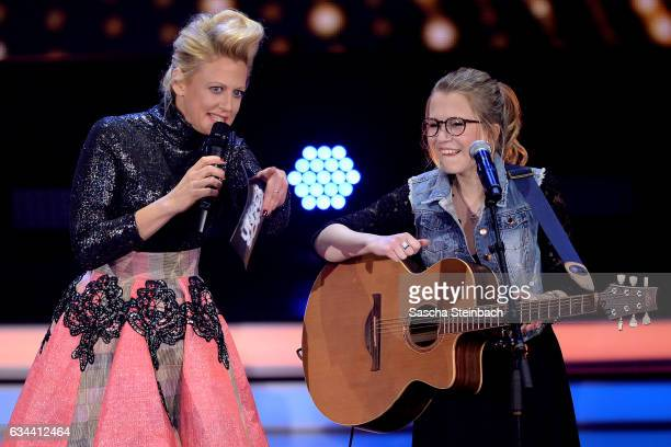 Barbara Schoeneberger and Helene Nissen attend the 'Eurovision Song Contest 2017 Unser Song' show on February 9 2017 in Cologne Germany