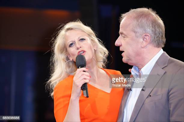 Barbara Schoeneberger and Hubertus MeyerBurckhardt is seen during the NDR Talk Show on May 19 2017 in Hamburg Germany