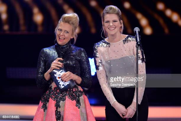 Barbara Schoeneberger and Isabella 'Levina' Lueen attend the 'Eurovision Song Contest 2017 Unser Song' show on February 9 2017 in Cologne Germany