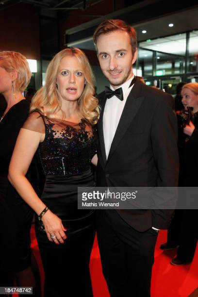 Barbara Schoeneberger and Jan Boehmermann attend the 17th Annual of the German Comedy Awards at Coloneum on October 15 2013 in Cologne Germany