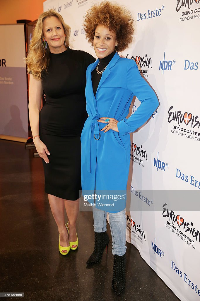Barbara Schoeneberger and Oceana attend the Eurovision Song Contest Press Conference on March 12 2014 in Cologne Germany