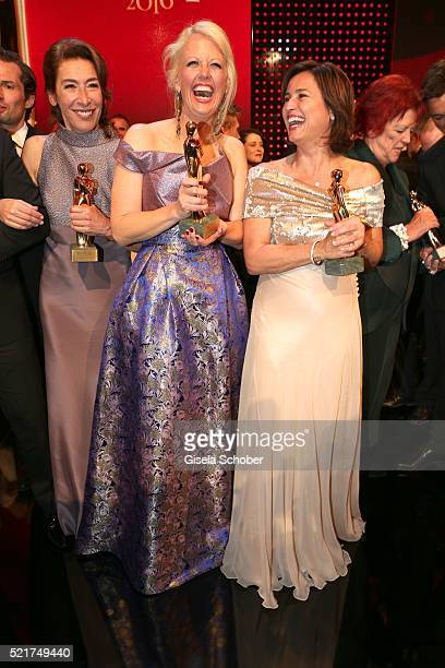 Barbara Schoeneberger and Sandra Maischberger pose with her award during the 27th ROMY Award 2015 at Hofburg Vienna on April 16 2016 in Vienna Austria
