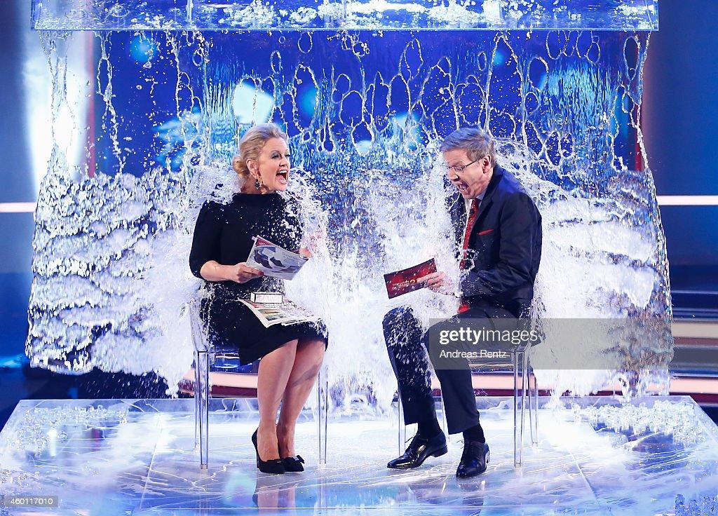 Barbara Schoeneberger and TV host Guenther Jauch take part in the 'Ice Bucket Challenge' during the 2014! Menschen, Bilder, Emotionen - RTL Jahresrueckblick show on December 7, 2014 in Cologne, Germany.