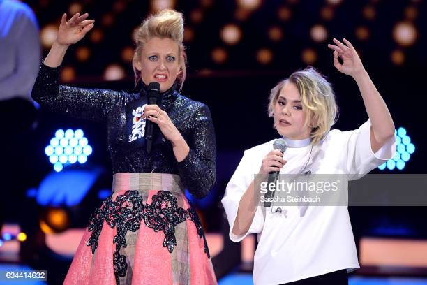 Barbara Schoeneberger and Yosefin Buohler attend the 'Eurovision Song Contest 2017 Unser Song' show on February 9 2017 in Cologne Germany