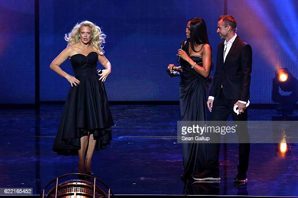Barbara Schoeneberger Naomi Campbell and Philipp Plein are seen on stage at the GQ Men of the year Award 2016 show at Komische Oper on November 10...