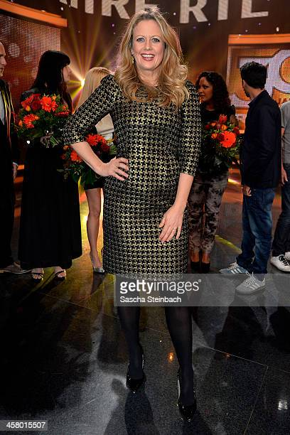 Barbara Schoeneberger poses after the taping of the anniversary show '30 Jahre RTL Die grosse Jubilaeumsshow mit Thomas Gottschalk' on December 19...