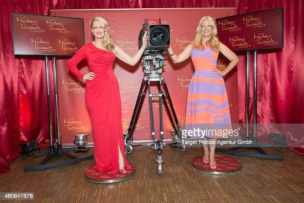 Barbara Schoeneberger presents her wax figure for Madame Tussauds at Cinemaxx on July 14 2015 in Berlin Germany