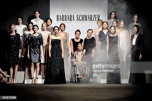 Barbara Schwarzer celebrates her fashion show during Platform Fashion Dusseldorf on July 25 2014 in Duesseldorf Germany