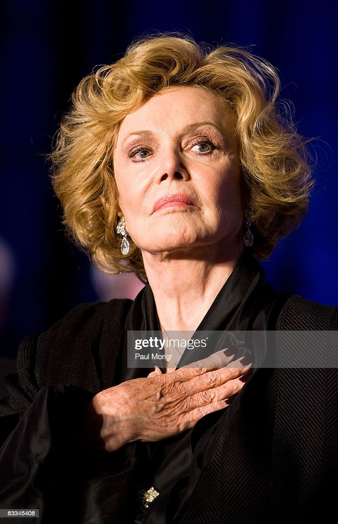 Barbara Sinatra during the playing of the U.S. National Anthem at the National Italian American Foundation (NIAF) 33rd Anniversary Awards at the Hilton Washington and Towers on October 18, 2008 in Washington, DC.