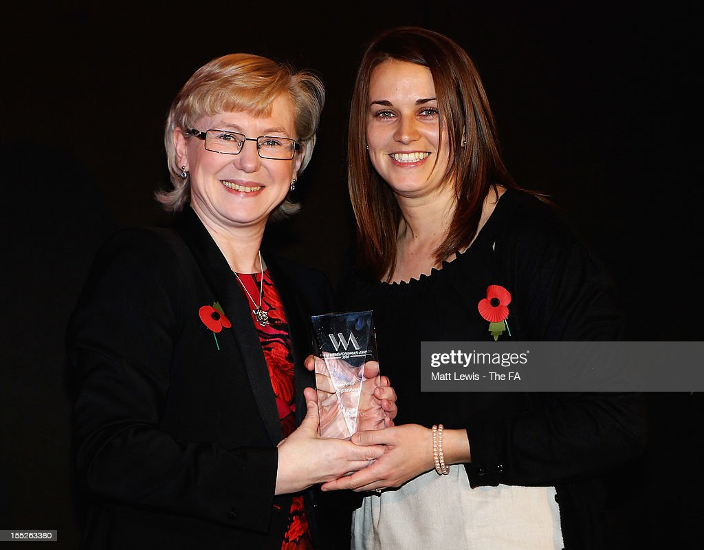 Barbara Slater, BBC Director of Sport presents Yeovil Town with the 'Digital Award' during the FA Women's Awards 2012 at the Waldorf Hilton on November 2, 2012 in London, England.