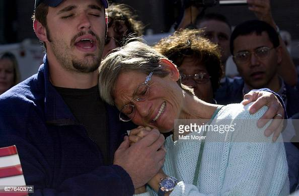Barbara Smith is consoled by an unidentified volunteer at the 69th Regiment Armory in New York Saturday Sept 15 2001 The armory is functioning as a...