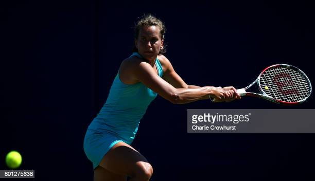 Barbara Strycova of Czech Republic in action during her first round match against Eugenie Bouchard of Canada during day two of the Aegon...